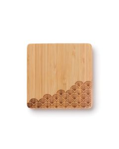 Bamboo Coasters with Hand Burned Wave Design - Set of 4