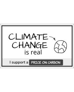 Climate Change is Real I Support a Price On Carbon Sticker - 3X5 - White