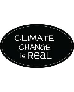 Climate Change is Real Price Carbon Sticker - 3x5 - Black - Oval