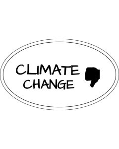 Climate Change Thumbs Down Sticker - 3x5 - White - Oval