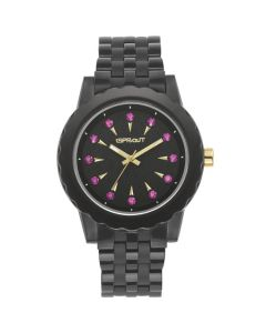 Black Corn Resin Watch with Amethyst Crystal Accents