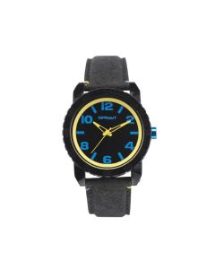 Black and Yellow Watch with Cork Strap