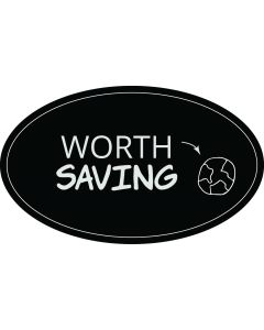 Worth Saving Planet Earth Sticker - 3x5 - Black - Oval