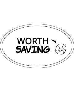 Worth Saving Planet Earth Sticker - 3x5 - White - Oval